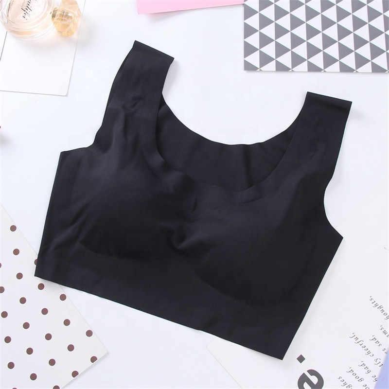 2019New Design Wholesale Comfortable Daily Seamless Common Sports Bra Plain Wirefree Ice Silk Sleep Bra for Woman