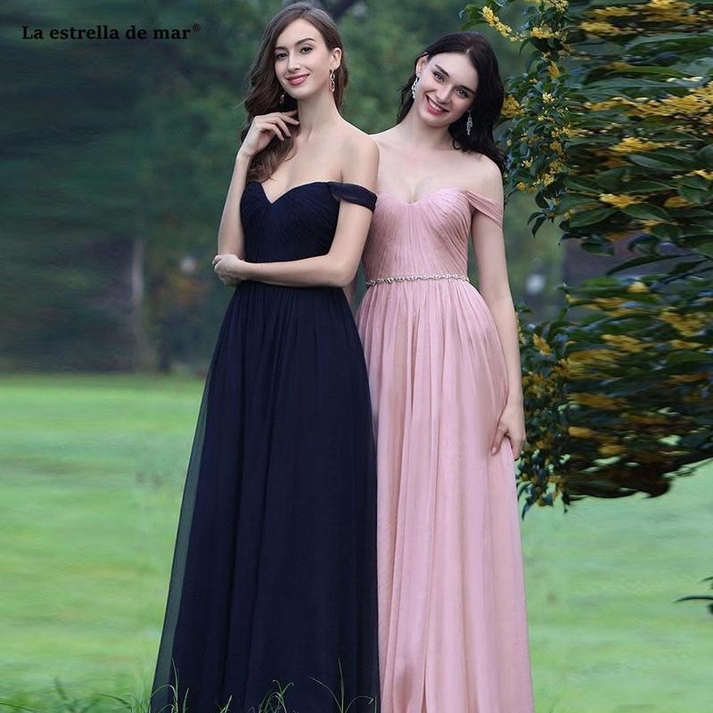 Vestidos para festa de casamento2019 nouveau mousseline de soie cristal bateau cou à manches courtes une ligne rose bleu marine robe de demoiselle d'honneur longue