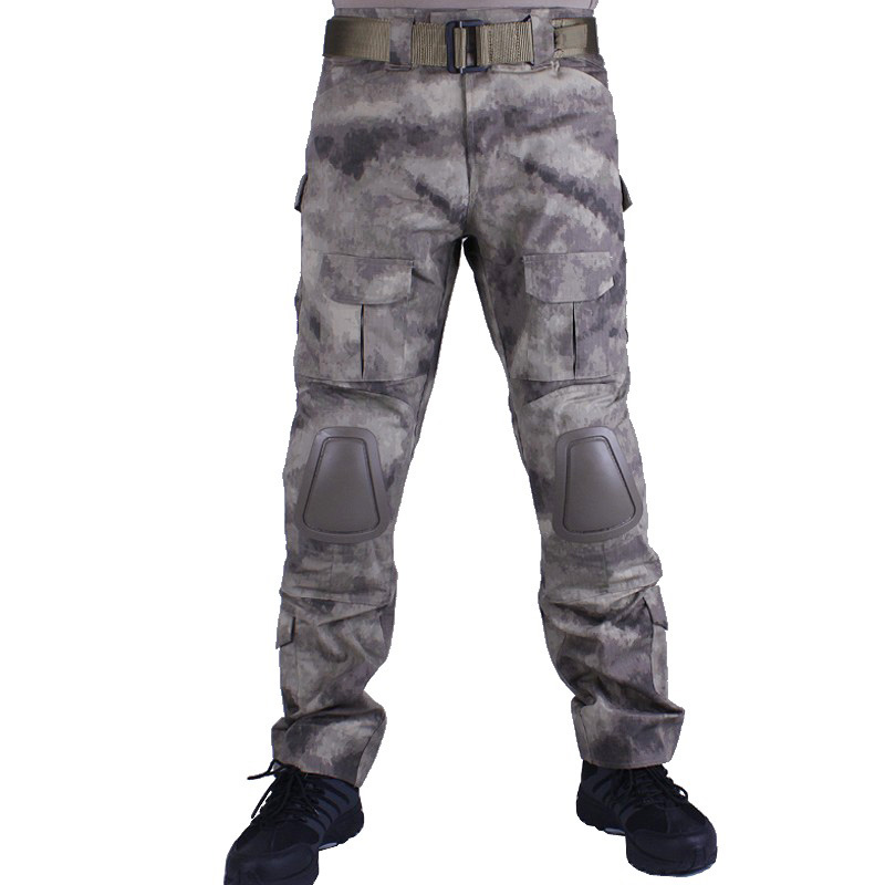 Camouflage military Combat pants men trousers tactical army pants with Removable knee pads A-TACS camouflage tactical military clothing paintball army cargo pants combat trousers multicam militar tactical shirt with knee pads