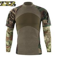 Military Summer Camouflage Tactical Military T Shirt Long Sleeve Cotton Generation Combat Frog Shirt Men Training Shirts