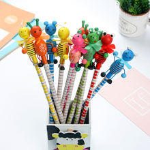6 шт/компл деревянные карандаши с изображением мультяшных животных