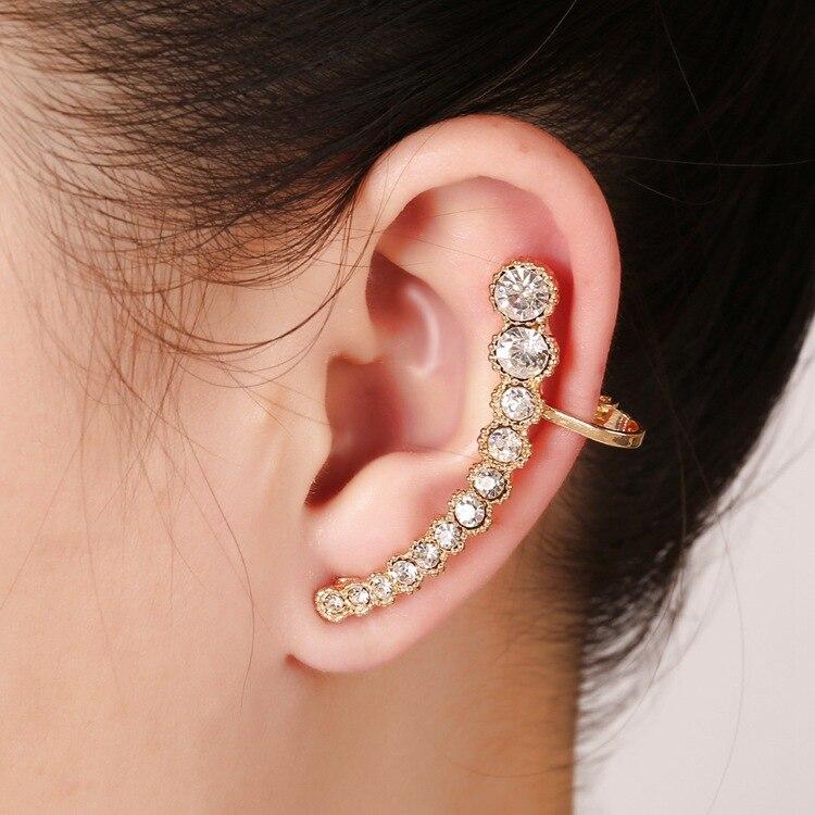 413 New Hot Fashion Elegant Trendy Single Women Left Ear Piercing Cuff Wrap Sparkling Crystal Clip E4481 In Earrings From Jewelry