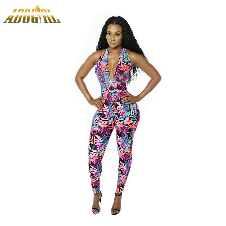 Women Halter Long Jumpsuits Sexy V-Neck Floral Print Backless Bodysuits Women Club Jumpsuits New Plus Size XL Bodycon Overalls