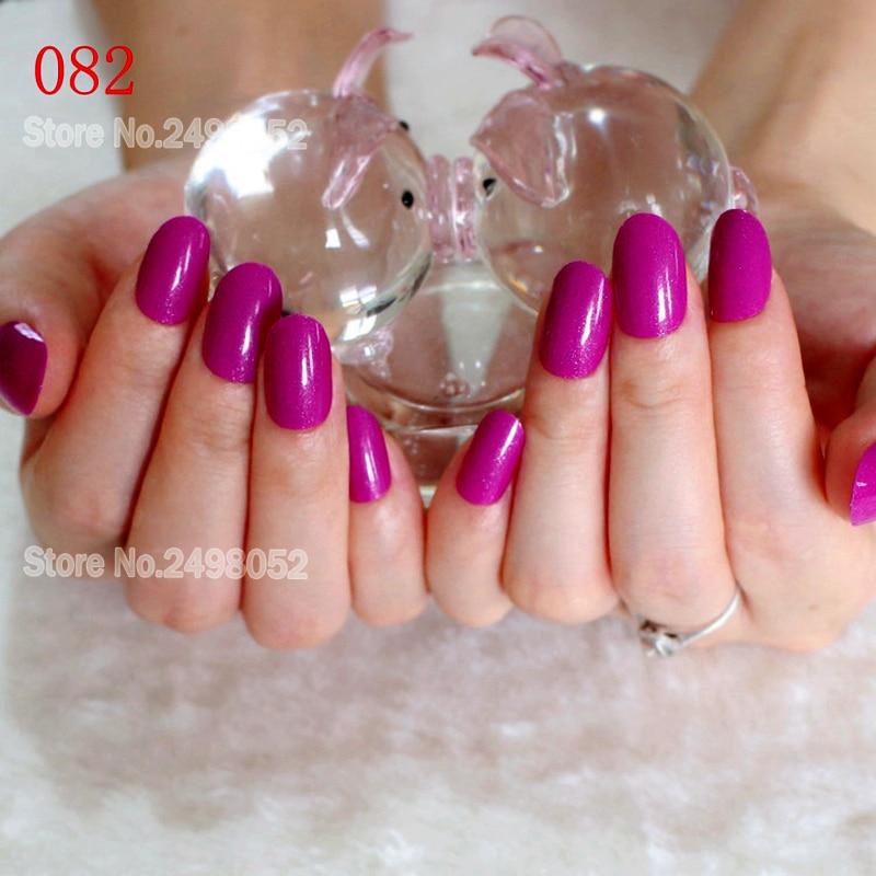 Purple Full Cover False Nail Art Tips OvalSh ape Fake Nails Glitter ...
