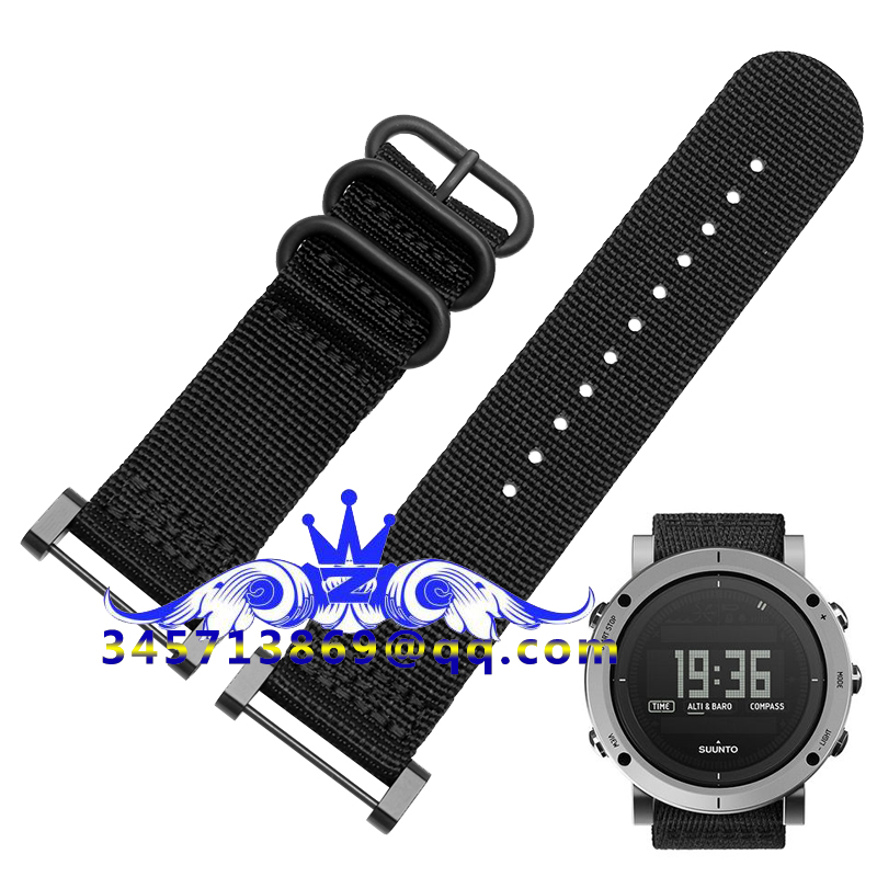 где купить  Fits For Suunto Core For Note All Black Watch Band / Strap Nylon Zulu Strap3-Ring Lugs + Adapters +PVD Clasp/Buckle+Tools 24MM  по лучшей цене