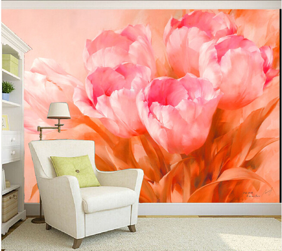 Custom 3 d flower wall murals wallpaper, tulip canvas for the sitting room the bedroom TV wall waterproof vinyl papel DE parede цена 2017