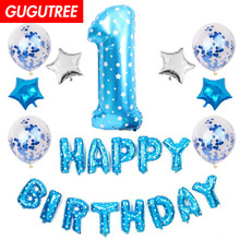 1 years old happy birthday balloons for party Decoration, star foil decoration PD-47
