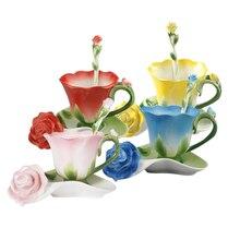 Лучший 3D цветок в форме розы, эмалированная керамическая кофейная чайная чашка и блюдце, ложка, Высококачественная фарфоровая чашка, креативный подарок на день Святого Валентина, дизайн