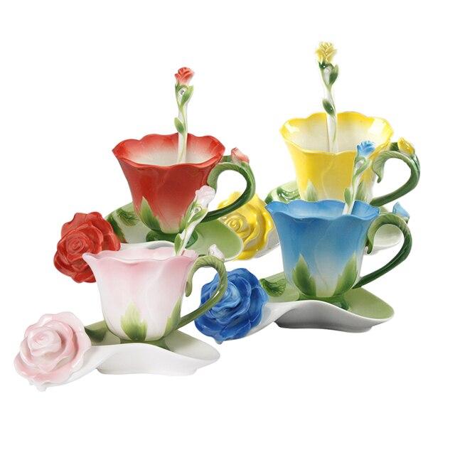 Best 3d Rose Shape Flower Enamel Ceramic Coffee Tea Cup And Saucer Spoon High Grade