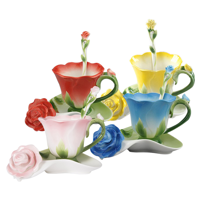 Best 3D Rose Shape Flower Enamel Ceramic <font><b>Coffee</b></font> Tea <font><b>Cup</b></font> and Saucer Spoon High-grade <font><b>Porcelain</b></font> <font><b>Cup</b></font> Creative Valentine Gift Design image