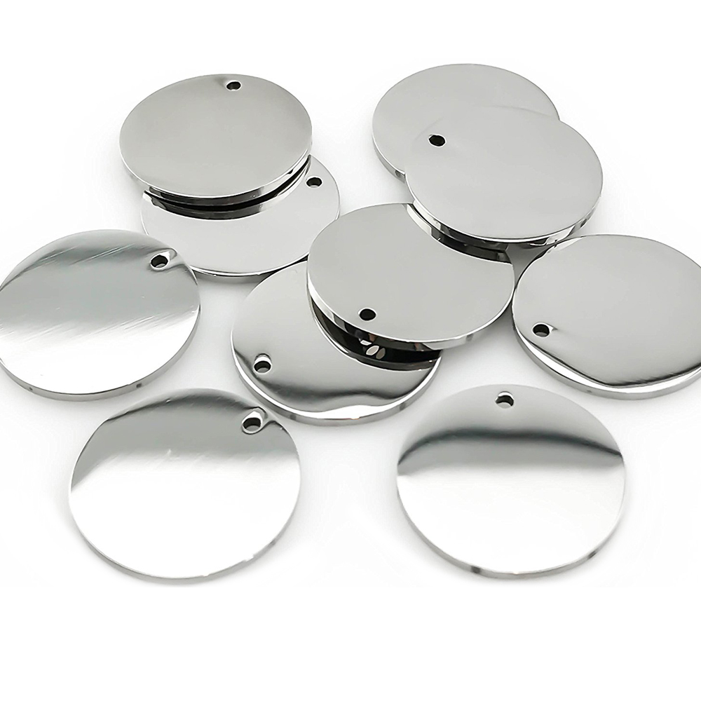 8mm,10mm,12mm Of 50pcs Silver & Gold Tone Stainless Steel Blank Stamping Tags ID Dog Tag For Logos Not Turn Off Color