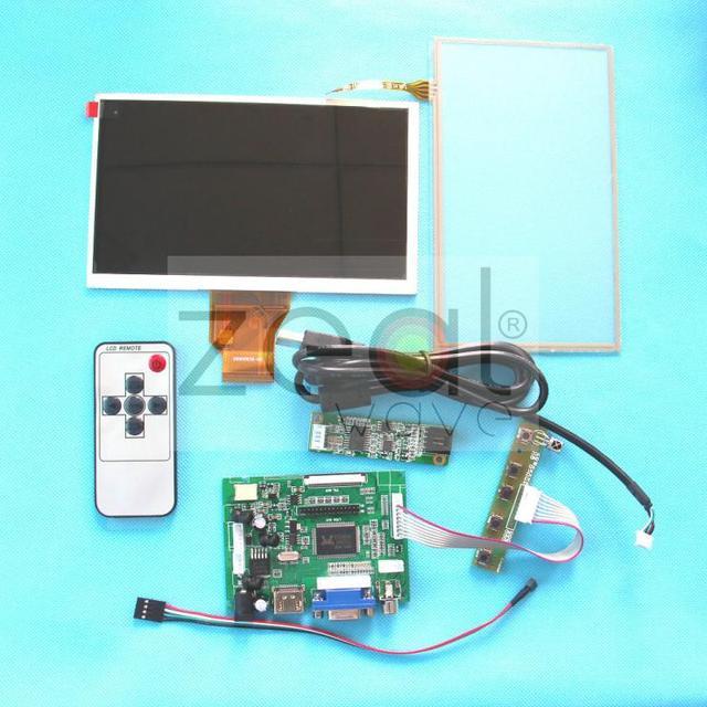"""Бесплатная Доставка СДЕЛАЙ САМ Монитор Для Raspberry Pi-(HDMI + VGA + 2AV) Жк-Драйвер + 7 """"AT070TN90 + Сенсорный Экран"""