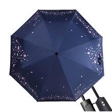 MUERHUA Brand Automatic Folding Cherry Blossom Umbrella Rain Women Anti-UV Sakura Flower Female Tools Sun Parasol