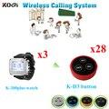 Система обслуживания сервера официанта прочные наручные часы оборудование (3 шт приемник часов + 28 шт Кнопка вызова)