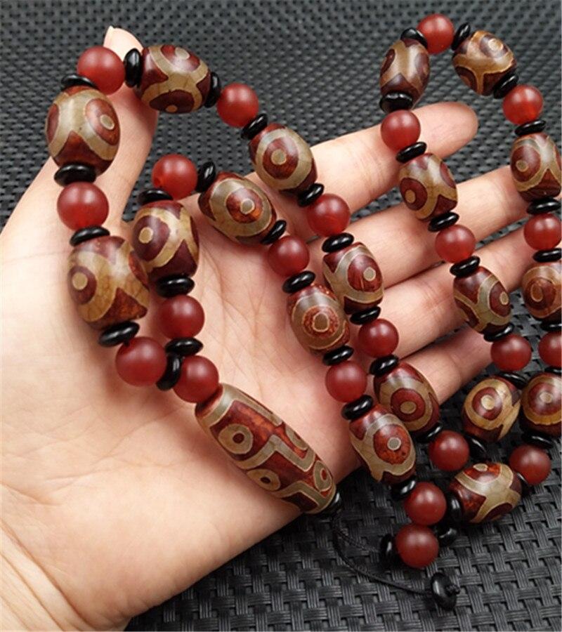 Collier de perles d'agate chaîne de chandail pendentif de collier d'agate à trois yeux