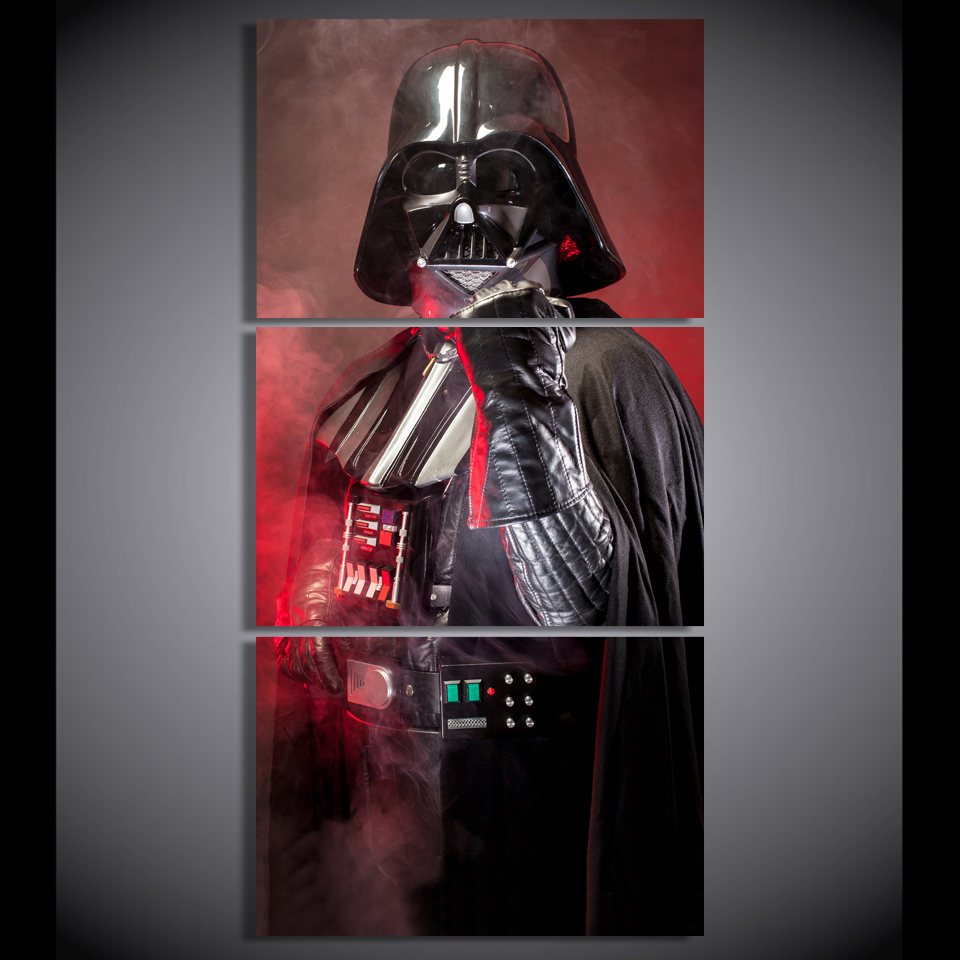 HD Printed 3 piece canvas art Star Wars Empire darth vader painting livingroom decor poster large canvas Free shipping/gg-6371
