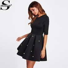 Sheinside Pearl Beading Boxed Pleated Flare Party Dress Black Round Neck Half Sleeve Fit A Line Dress Women Elegant Winter Dress(China)