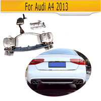 Auto Lip Diffusor Stahl Auto Auspuff Tipps Für Audi A4 2013-in Stoßstangen aus Kraftfahrzeuge und Motorräder bei