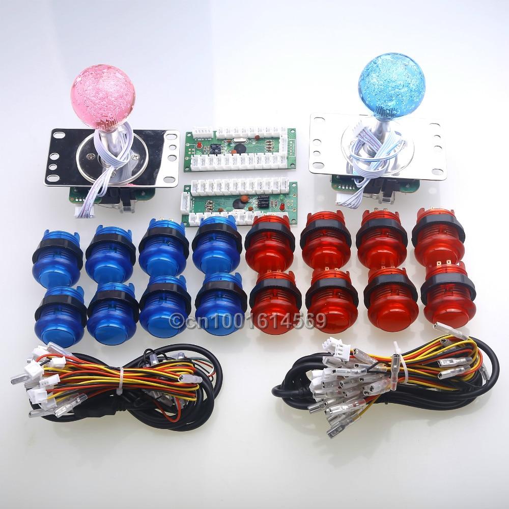 Reyann Arcade USB Control Panel DIY Bundle Kit 2 x LED Joystick + 16 x LED Illuminated Light Push Buttons For Windows PC Games 300 x disassemble nylon push rivets fasteners for 1 2 2 1mm thick panel