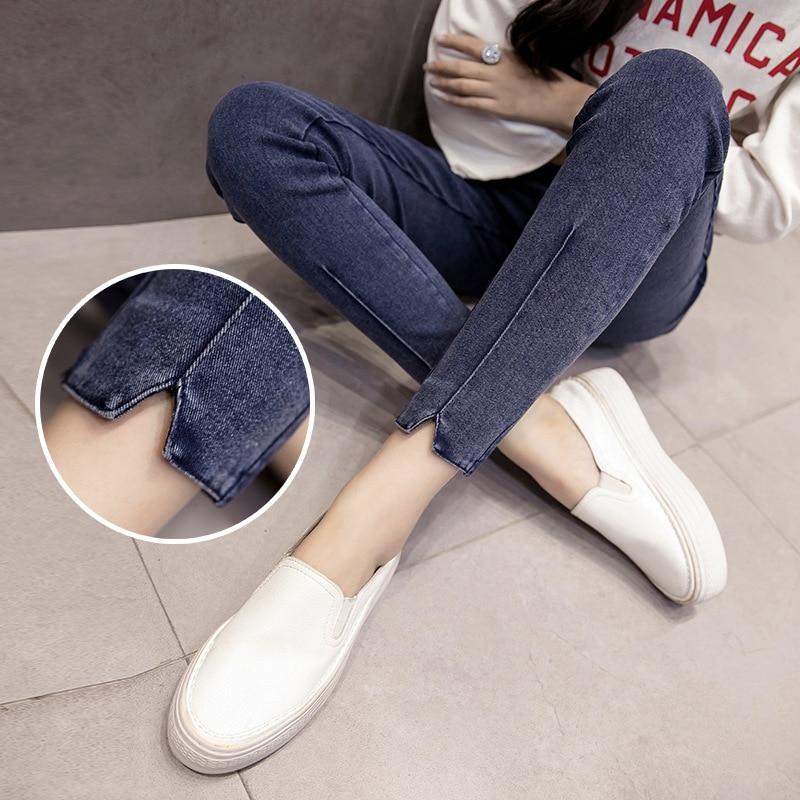 High Waist Denim Pencil Pants Elastic Large Size Jeans Pregnancy Jean Capris Pregnant Spring Clothes Maternity Denim Pants 2019