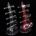 2pcs/lot 5 Layers Plastic Sunglass Glasses Display Holder Rack For 5 Pairs Eyeglass Stand Pink/Clear/Yellow/Green