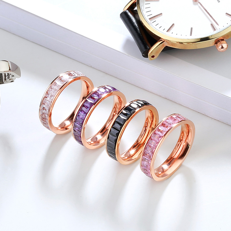 YUN RUO Rose Gold Multicolour Snow Zircona Ring for Woman Girl Birthday Gift 316L Stainless Steel Jewelry High Polish Never Fade