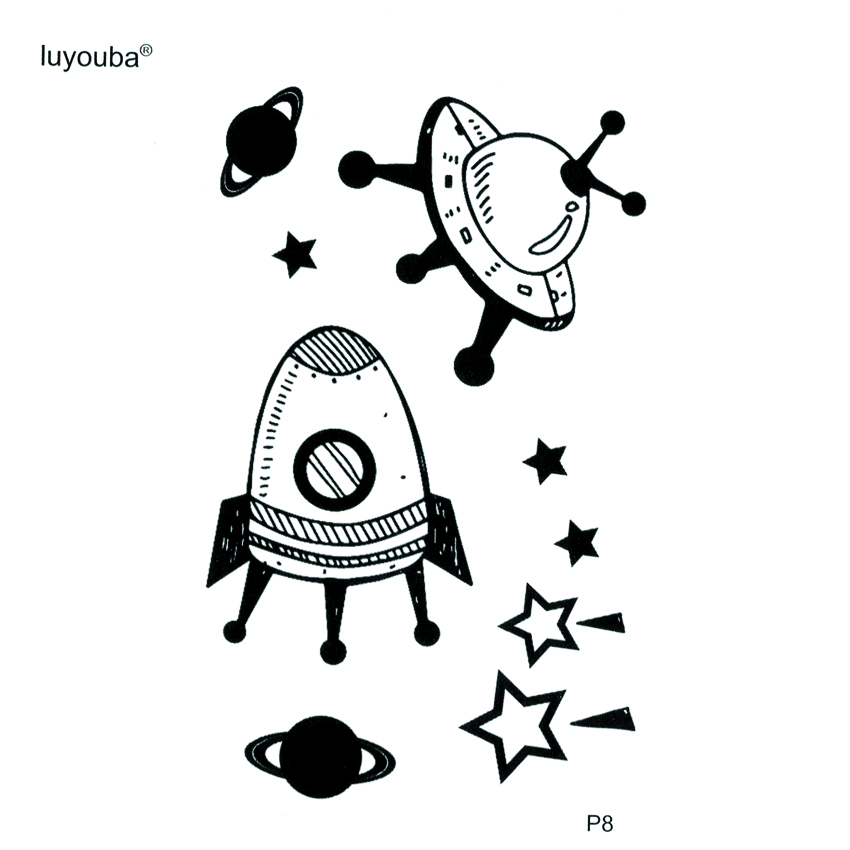 Spacecraft Waterproof Temporary Tattoos Men UFO Fake Tattoo The Flash Tatoo Stickers Harajuku Meteor Kids Tattoo Faux Tatouage