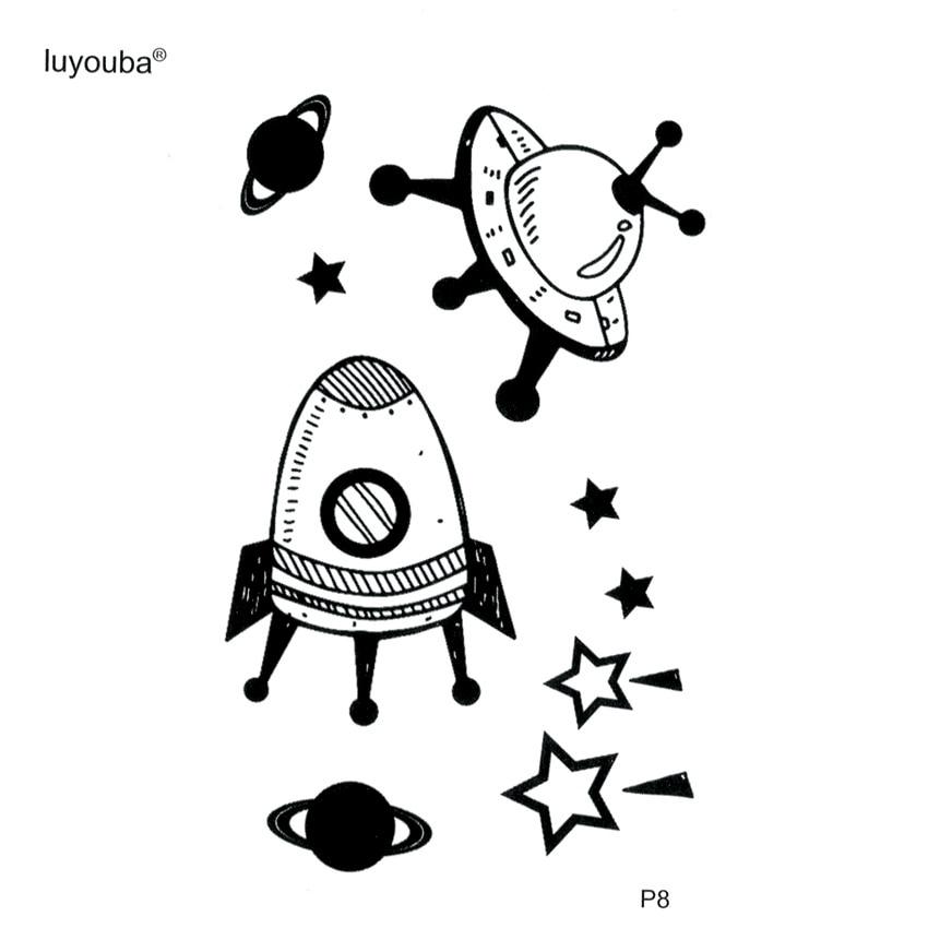 Spacecraft Waterproof Temporary Tattoos Men UFO Fake Tattoo The Flash Tatoo Stickers Harajuku Meteor Kids Tattoo Faux Tatouage