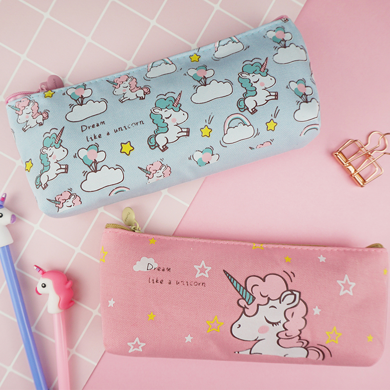 Cute Pony Unicorn Animal Student Pencil Case School Pencil Cases For Girl Stationery Canvas Pencil Bag Estojo Escolar