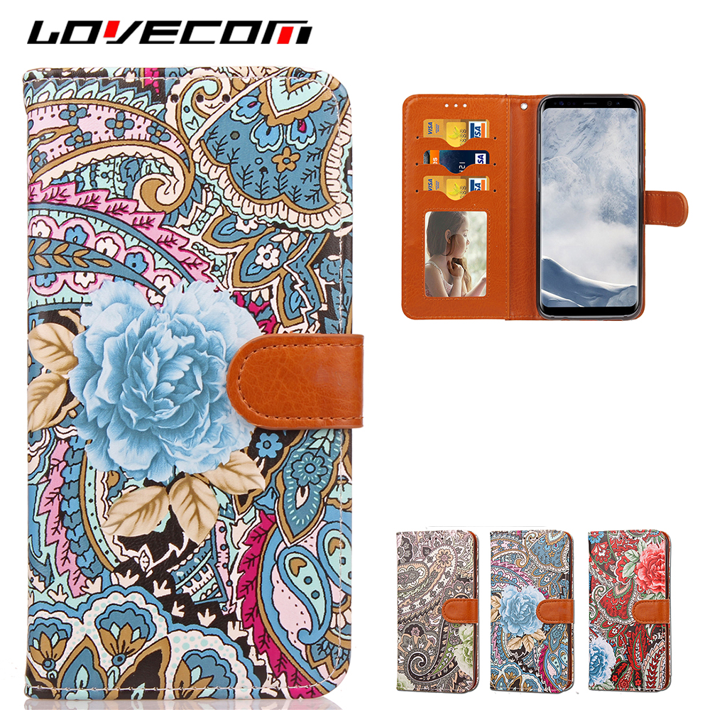 LOVECOM Luxury Flowers Painting Leather Wallet Flip Case Cover For Samsung Galaxy S8 / S8 Plus For Iphone 6 6S 7 Plus Phone Bags