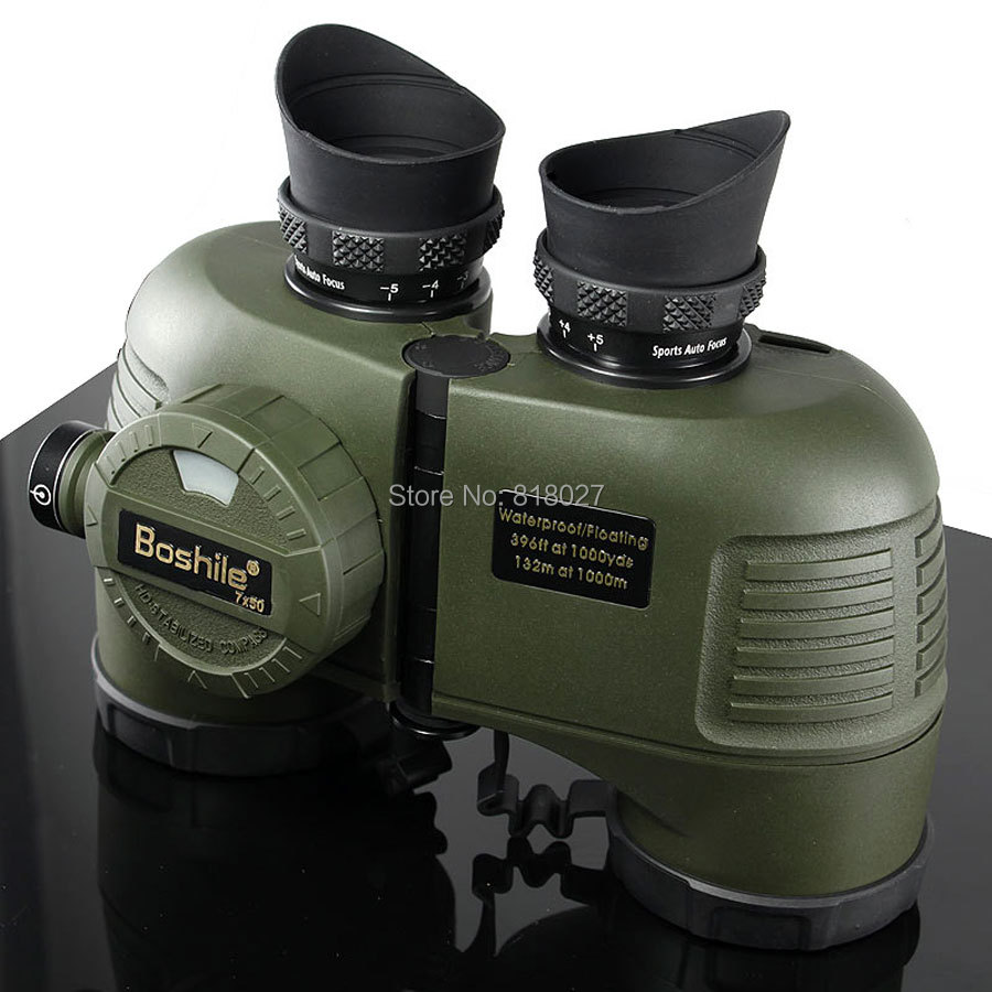 Military Boshile 7X50 marine Binoculars rangefinder Compass HD telescope Waterproof Nitrogen navy binoculo profissional 4 colors military waterproof binoculars boshile 10x50 navy telescope binocular with rangefinder and compass fully multi coated lens bak4
