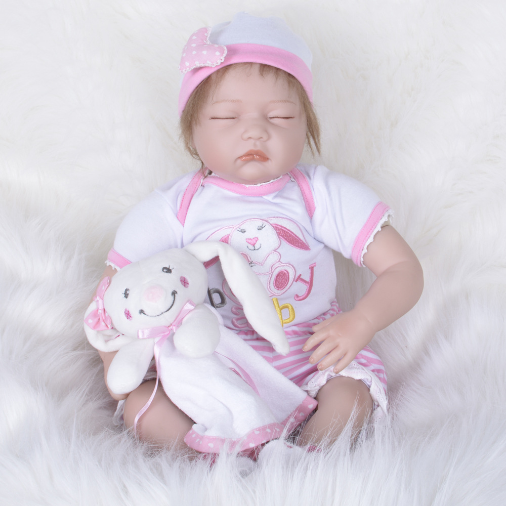 Reborn Baby Doll 22 inch 55 cm Silicone Vinyl Girl Doll Soft Cloth Body Alive toddler Baby Chiristmas Gift for Kids кукла 44271926101 usa berenguer reborn baby doll