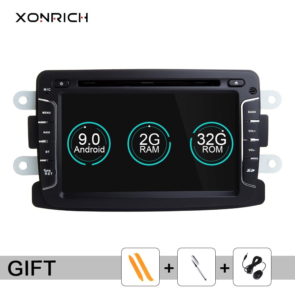 Xonrich Android 9.0 samochodowy odtwarzacz DVD dla Logan2 Lada Xray 2 Duster Renault Captur Dacia Sandero 2 Dokker Wifi radiowa nawigacja GPS