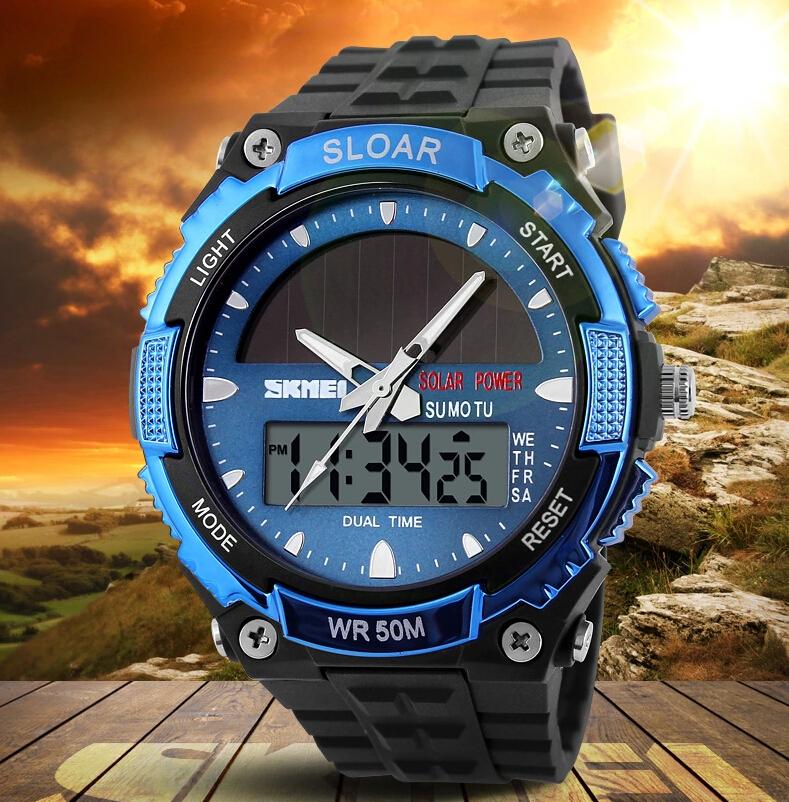 Prix pour 2016 Nouveau Solide Montres Hommes Horloge Résine Atomique Solaire Sport montre 2 Time Zone Numérique Led Quartz Hommes Montres Militaire montre