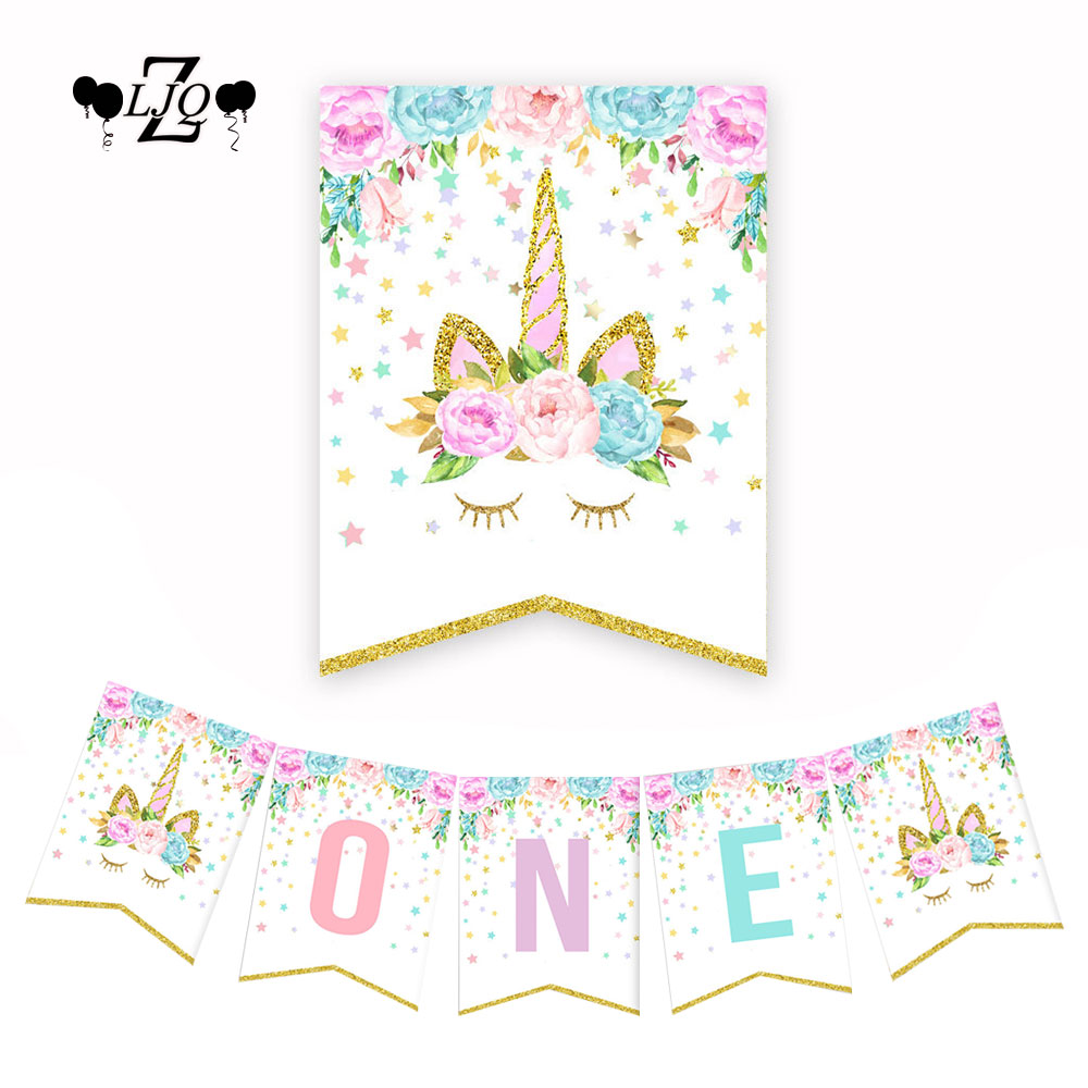 "ZLJQ Pink Gold Unicorn Flower Animal ""One"" Highchair Banner Burlap for Baby First Birthday Party Photo Props Decoration"