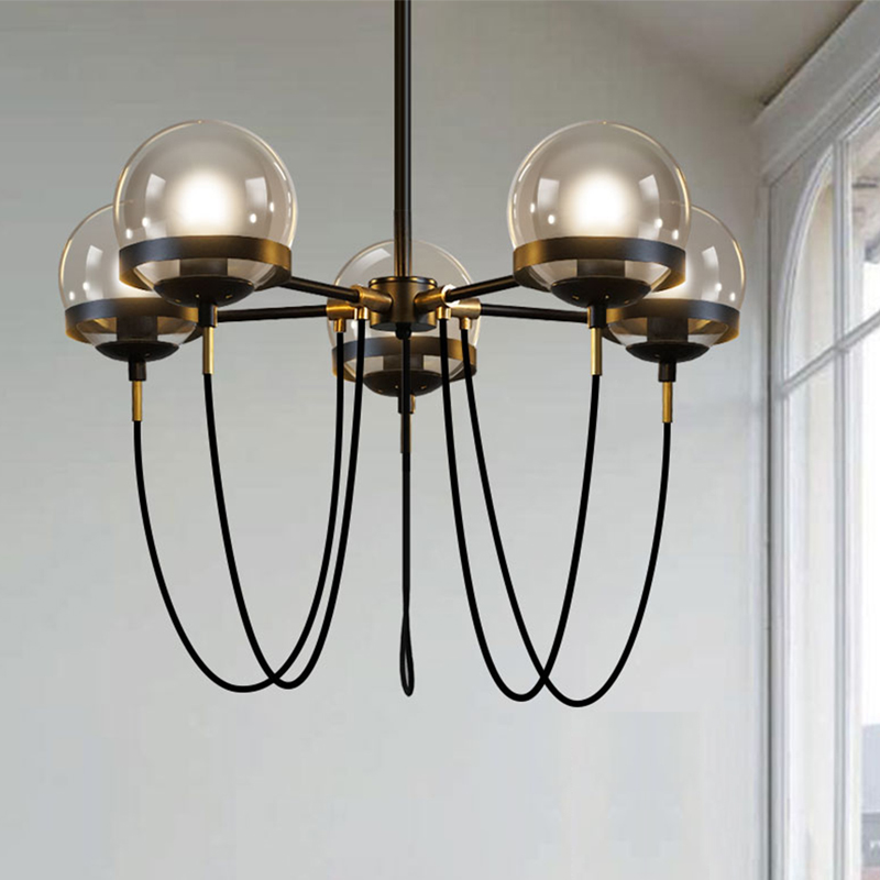 Magic beans DNA Lustres wrought iron industrial Cafe project 5 lamps Nordic Art Deco glass ball LED pendant hanging lights nodic magic beans dna lustres pendant light modern wrought iron e27 led home hanglamp industrial cafe art deco project lamps