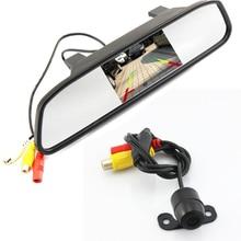 Sistema de Ayuda Al aparcamiento 2 en 1 Digital 4.3 TFT LCD Espejo Auto de Coches Aparcamiento Monitor + 170 Grados de visión Trasera de Coche Mini cámara