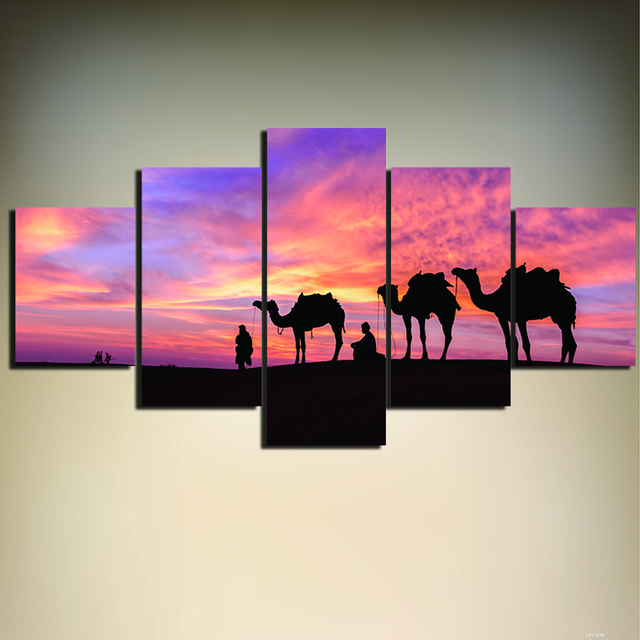 5 Pieces Sunset Desert And Camel HD Printed Painting Modern Wall Art ...