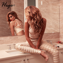 Hego 2016 Gold Striped Backless Sexy Club Bandage Jumpsuits  For Women Elastic Waist Pants Set Autumn