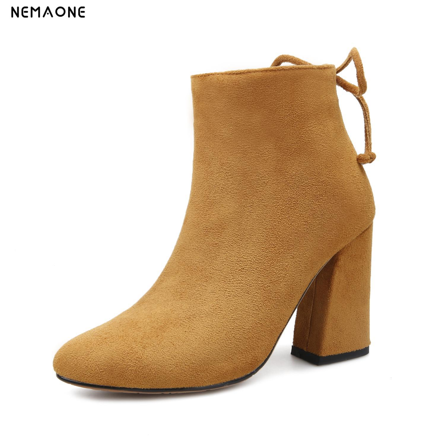 NEMAONE 2019 new ankle boots fashion square toe thick heel women boots high heel genuine leather lady boots us size 9 10 11 12 basic 2018 women thick heel ankle boots black pu fleeces round toe work shoe red heel winter spring lady super high heel boots