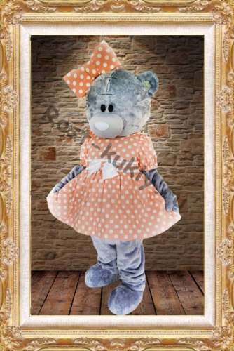 Lovely girls Teddy bear mascot costumes pink dressesTeddy bear tailsman doll costumes for Xmas Halloween Carnival party event