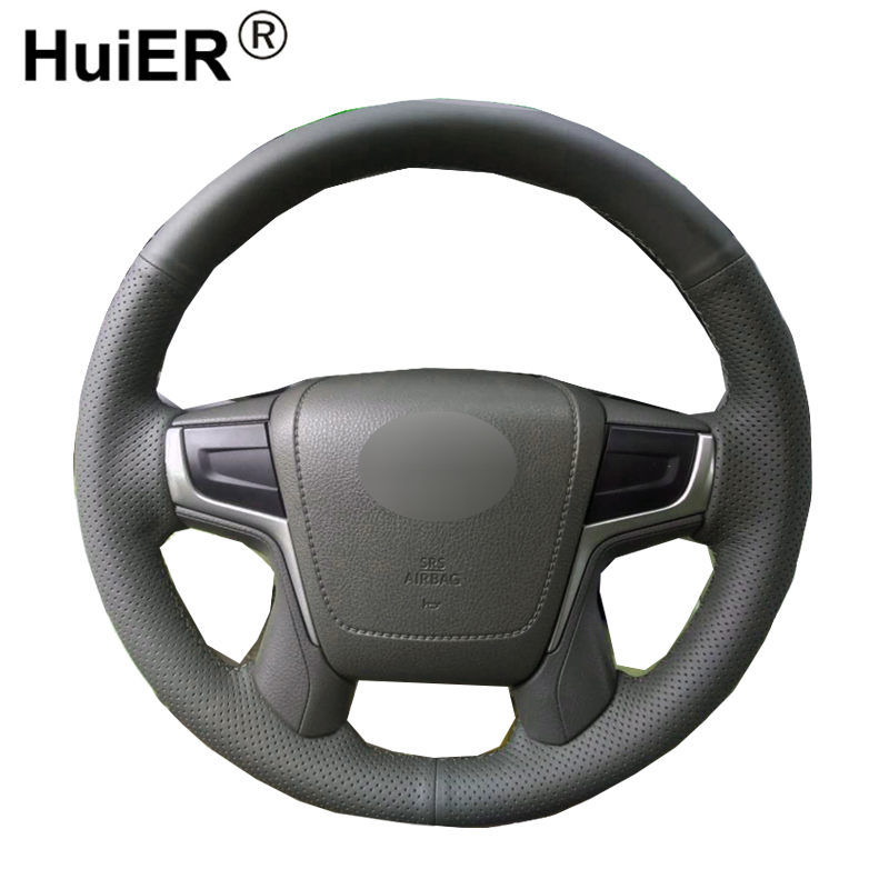 HuiER Hand Sewing Car Steering Wheel Cover Black Leather Breathable Car Styling For Toyota Land Cruiser 2016 Auto Steering Wheel