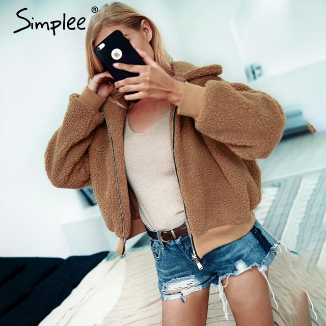 4c3dbe00b80 Simplee Winter teddy bear coat Women thick warm basic jacket Furry faux fur  coat female 2018