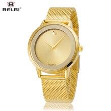 BELBI Ladies Quartz watch Moda feminina Relógios 2017 Relógio de ouro relógio feminino à prova d' água relógios criativos menina dropshipping