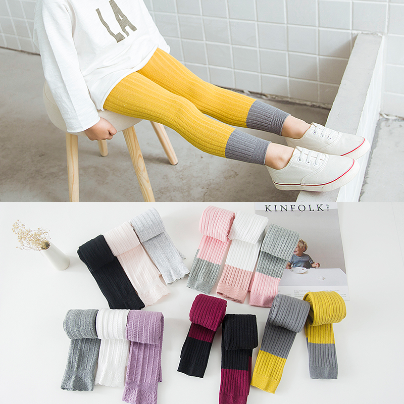 New Candy Colors Pantyhose for Girls Baby Tights Mini Stripe Tights Children's Dancing Cotton Pantyhose Stocking for 1-8 yrs rib knit tights