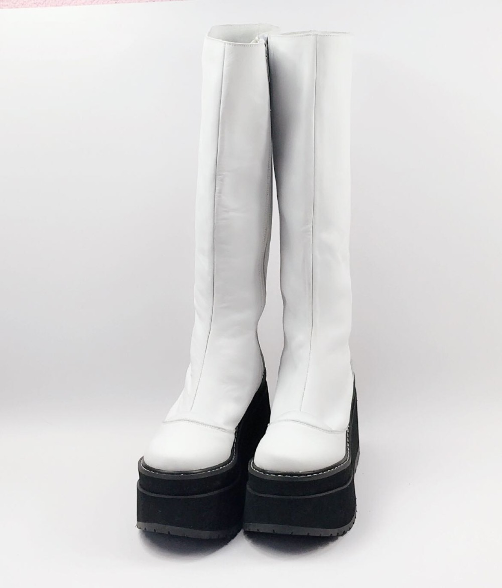 47edba493c7 US $110.0 |Japanese Sweet Wedges Lolita Cosplay Thigh Boots Princess Girl  Chunky High Heel Winter Martin Boots with Side zip -in Knee-High Boots from  ...