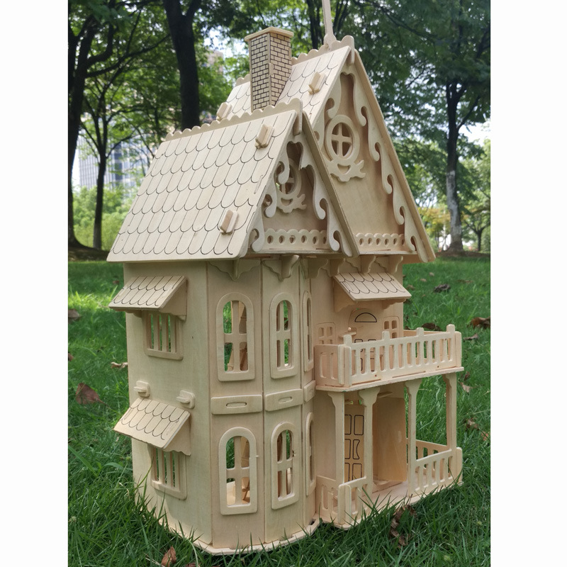 Wood miniature dollhouse DIY doll house assembled Educational pretend play toys Mini 3D Stereo puzzle house for children girls(China)