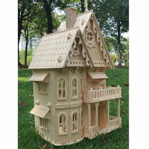 Wood miniature dollhouse DIY doll house assembled Educational pretend play toys Mini 3D Stereo puzzle house for children girls
