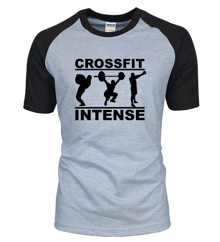 2019 new summer CrossFit Intense t shirt 100% cotton raglan men t-shirt fashion short sleeve shirt fitness bodybuilding clothing