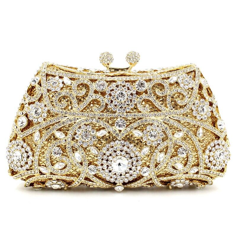 Estilo europeo  nueva cartera de mano bolsos de noche de diamantes mujer hollow
